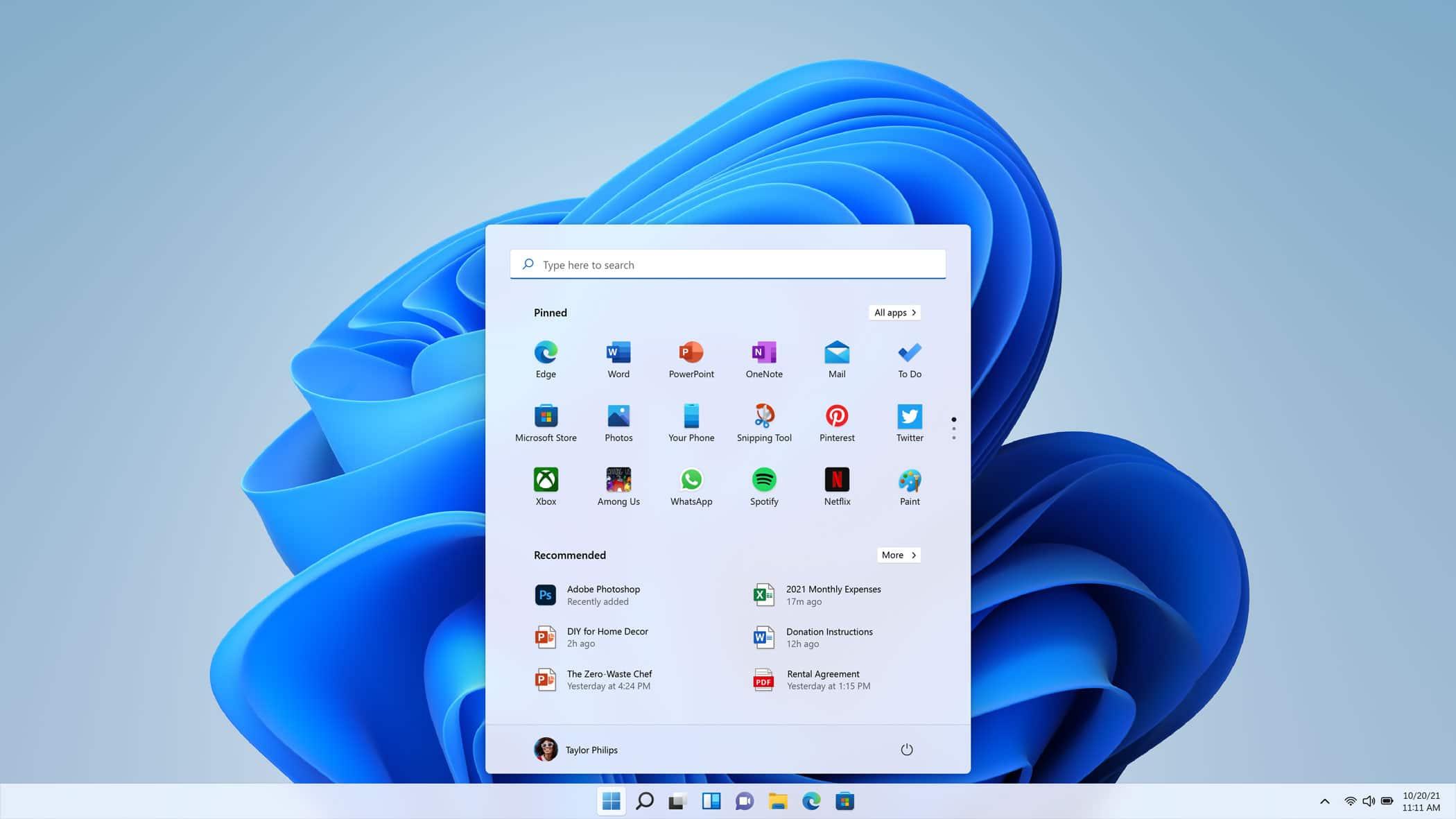 Menu démarrer Windows 11